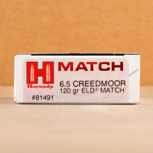 A photograph detailing the 6.5MM CREEDMOOR ammo with ELD Match bullets made by Hornady.