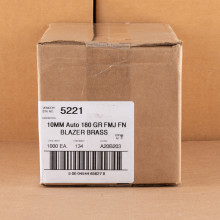 Photo detailing the 10MM BLAZER BRASS 180 GRAIN FMJ (1000 ROUNDS) for sale at AmmoMan.com.