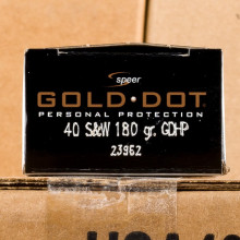 Image of the 40 S&W SPEER GOLD DOT 180 GRAIN JHP (20 ROUNDS) available at AmmoMan.com.