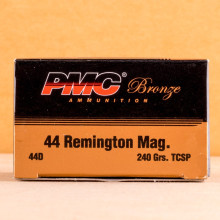 A photo of a box of PMC ammo in 44 Remington Magnum.