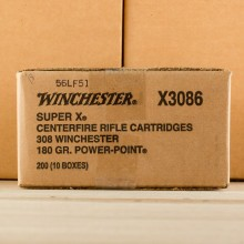 A photograph of 200 rounds of 180 grain 308 / 7.62x51 ammo with a Power-Point (PP) bullet for sale.