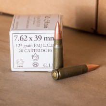 Image of the WOLF WHITE BOX 7.62x39 MILITARY GRADE AMMO 123 GRAIN FMJ (1000 ROUNDS) available at AmmoMan.com.