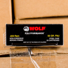 Image of Wolf 223 Remington rifle ammunition.