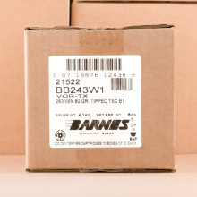 Image of Barnes 243 Winchester rifle ammunition.