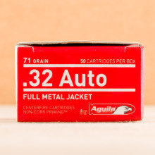 A photo of a box of Aguila ammo in .32 ACP.