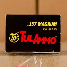 A photo of a box of Tula Cartridge Works ammo in 357 Magnum.