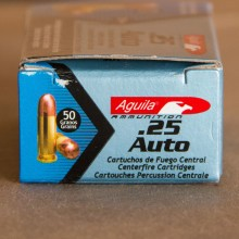 A photograph detailing the .25 ACP ammo with FMJ bullets made by Aguila.