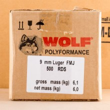 Image of the 9MM LUGER WOLF WPA 115 GRAIN FMJ (500 ROUNDS) available at AmmoMan.com.