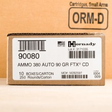 Image of the 380 ACP HORNADY CRITICAL DEFENSE 90 GRAIN FTX (250 ROUNDS) available at AmmoMan.com.