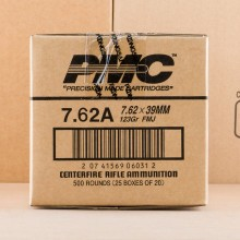 Photograph showing detail of 7.62X39 PMC BRONZE 123 GRAIN FMJ (500 ROUNDS)
