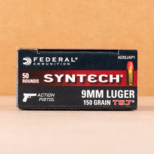 Photograph showing detail of 9MM LUGER FEDERAL AMERICAN EAGLE SYNTECH ACTION PISTOL 150 GRAIN TOTAL SYNTHETIC JACKET (500 ROUNDS)