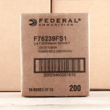 A photograph of 20 rounds of 123 grain 7.62 x 39 ammo with a Fusion bullet for sale.