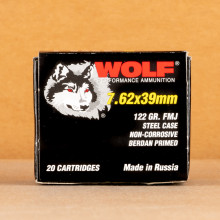 An image of 7.62 x 39 ammo made by Wolf at AmmoMan.com.