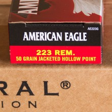 A photograph detailing the 223 Remington ammo with JHP bullets made by Federal.