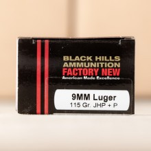 A photograph detailing the 9mm Luger ammo with JHP bullets made by Black Hills Ammunition.