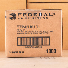 Image of the .45 ACP FEDERAL HYDRA SHOK 230 GRAIN JHP (1000 ROUNDS) available at AmmoMan.com.