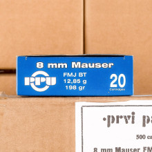 Image of 8mm Mauser JS ammo by Prvi Partizan that's ideal for training at the range.