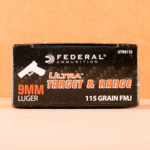 Photograph showing detail of 9MM FEDERAL ULTRA 115 GRAIN FULL METAL JACKET (1000 ROUNDS)
