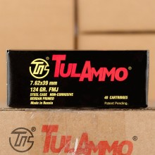 Image of Tula Cartridge Works 7.62 x 39 rifle ammunition.