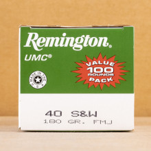 Image of .40 Smith & Wesson ammo by Remington that's ideal for precision shooting, shooting indoors, training at the range.