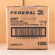 Image of Federal 9mm Luger pistol ammunition.