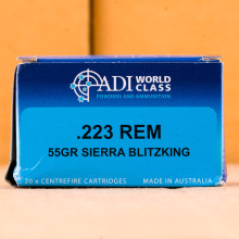 A photograph detailing the 223 Remington ammo with Polymer Tipped bullets made by Australian Defense Industries.