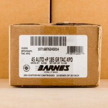 A photograph detailing the .45 Automatic ammo with Solid Copper Hollow Point (SCHP) bullets made by Barnes.