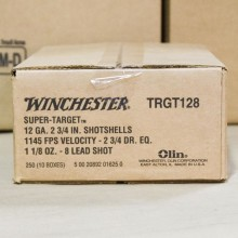 "12 GAUGE WINCHESTER SUPER TARGET 2 3/4"" 1 1/8 OUNCE #8 LEAD SHOT TARGET LOAD (250 ROUNDS)"
