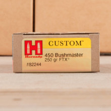 A photo of a box of Hornady ammo in 450 Bushmaster.