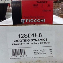 "12 GAUGE FIOCCHI TRAP AND SPORTING 2-3/4"" #8 SHOT (250 SHELLS)"