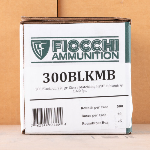 300 AAC BLACKOUT FIOCCHI 220 GRAIN HPBT MATCHKING (25 ROUNDS)
